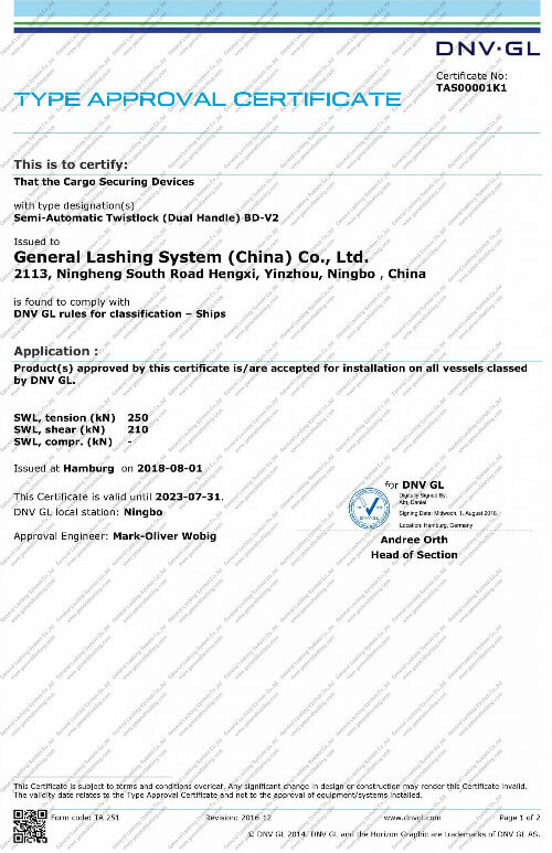 DNV-GL Certificate